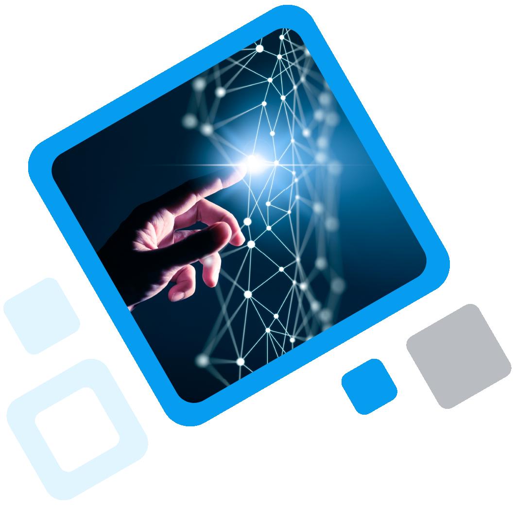 Hand touching digital world inside of blue frame (digital transformation)